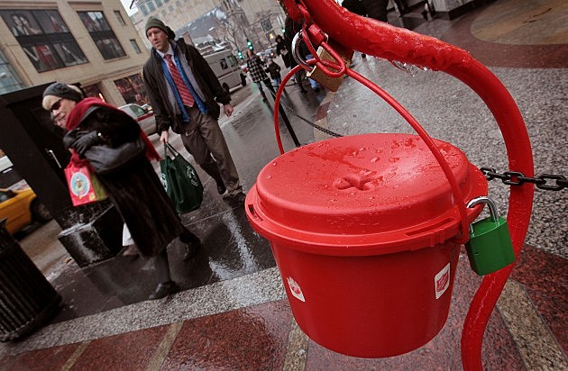 Salvation Army Bell Ringers Take Donations During Holiday Season