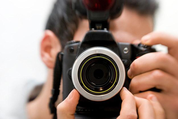 man shot with a photo camera